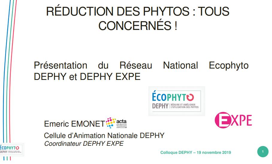 Présentation du réseau national Ecophyto Dephy et Dephy Expé