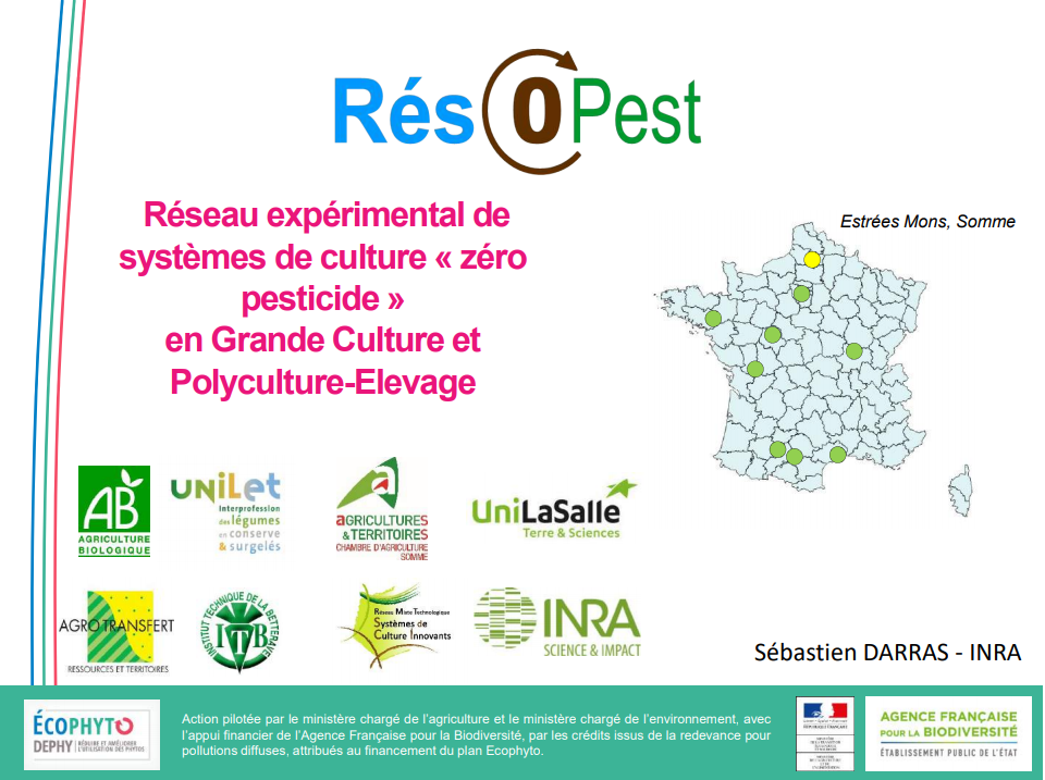 Résopest: réseau expérimental de systèmes de culture « zéro pesticides » en grandes cultures et polyculture-élevage